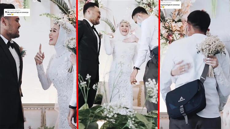 Düğününe çağırdığı eski sevgilisine son kez sarıldı