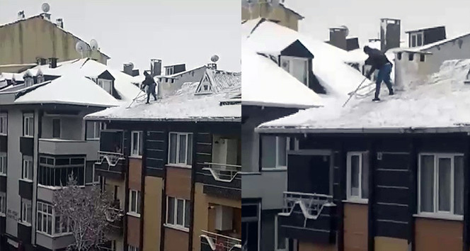 İstanbul'da çatıda ''ölümle alay'' eden kişi kamerada