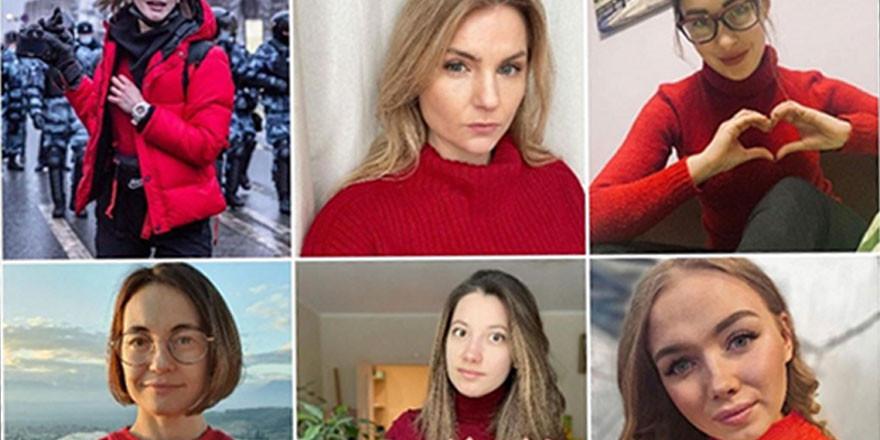 Rusya'da ''kırmızı'' protesto! Kadınlar tepki gösterdi