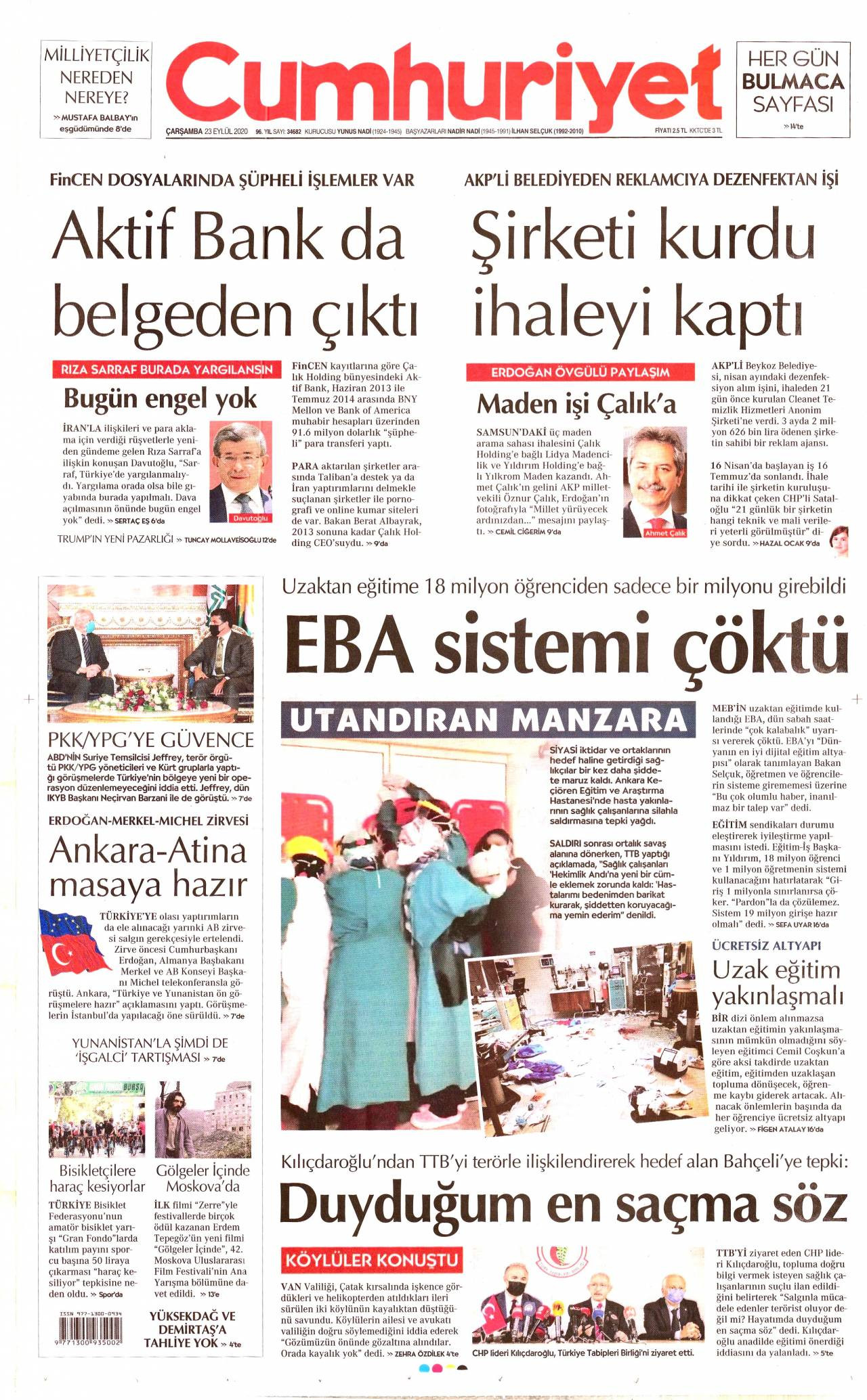 Cumhuriyet Gazetesi 23 Eylül 2020 Anasayfası - Haber3