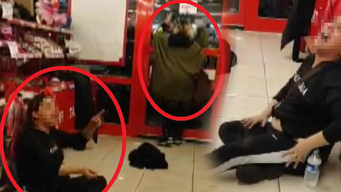 Hırsızlık şüphelisi 2 kadın marketi birbirine kattı