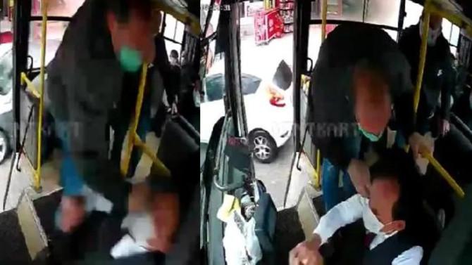 Kocaeli'nde otobüs şoförüne darp saniye saniye kamerada!