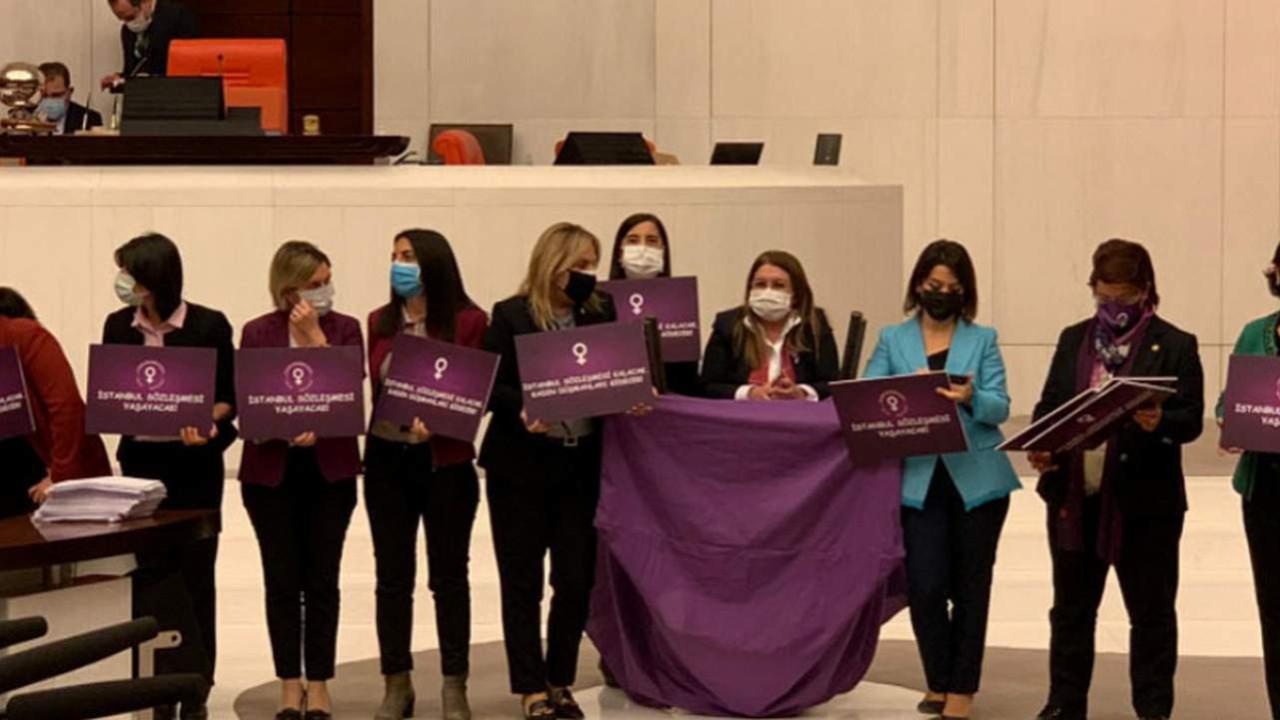 CHP'li kadın vekillerden Meclis'te mor eylem