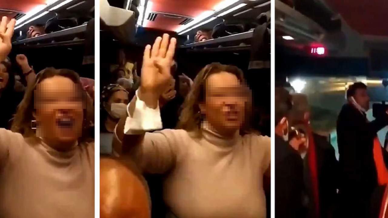AK Parti'nin kongre otobüsünde skandal görüntüler