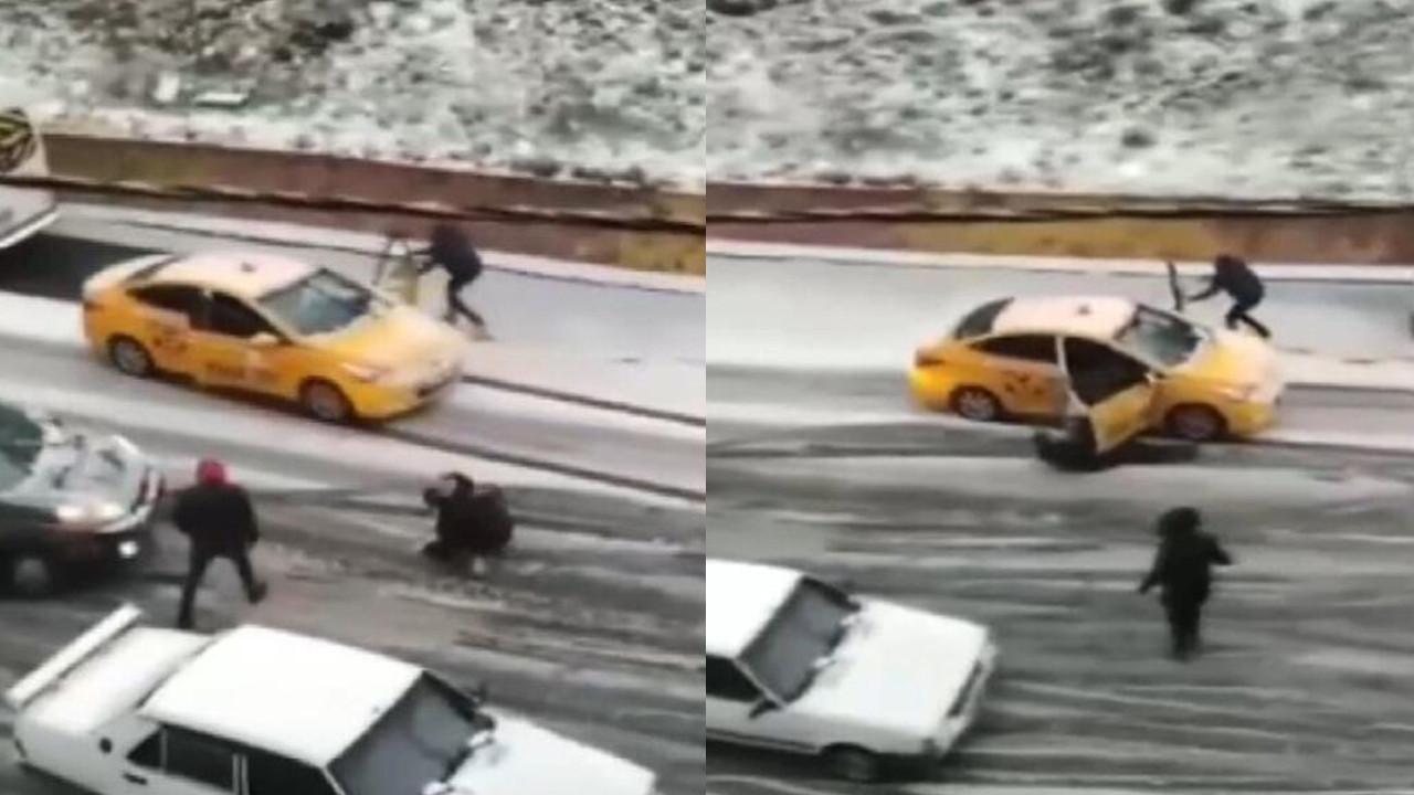 Taksicinin kar ile imtihanı!