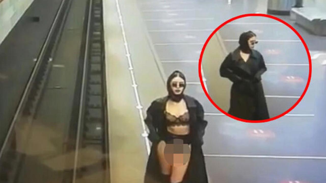 Skandal görüntüler! Metro istasyonunda striptiz