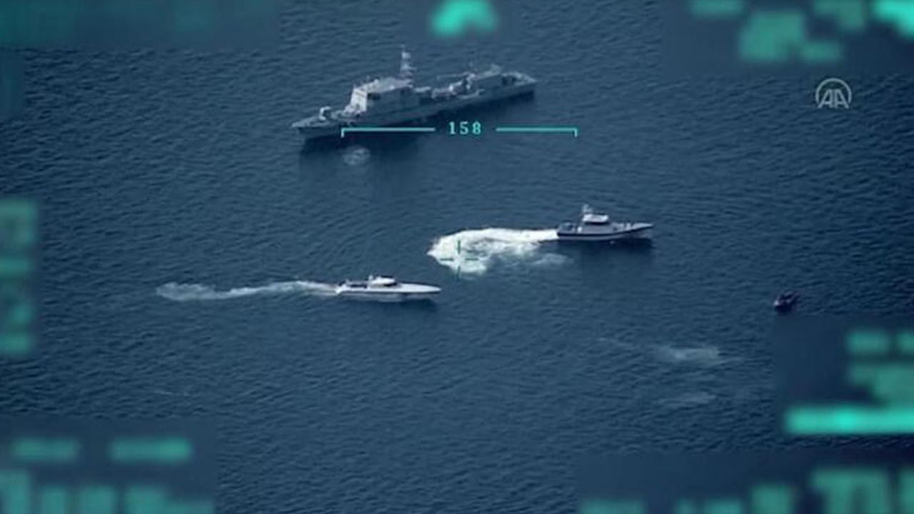 Türk Sahil Güvenlik'ten Yunanistan'a suçüstü! Havadan böyle görüntülendi