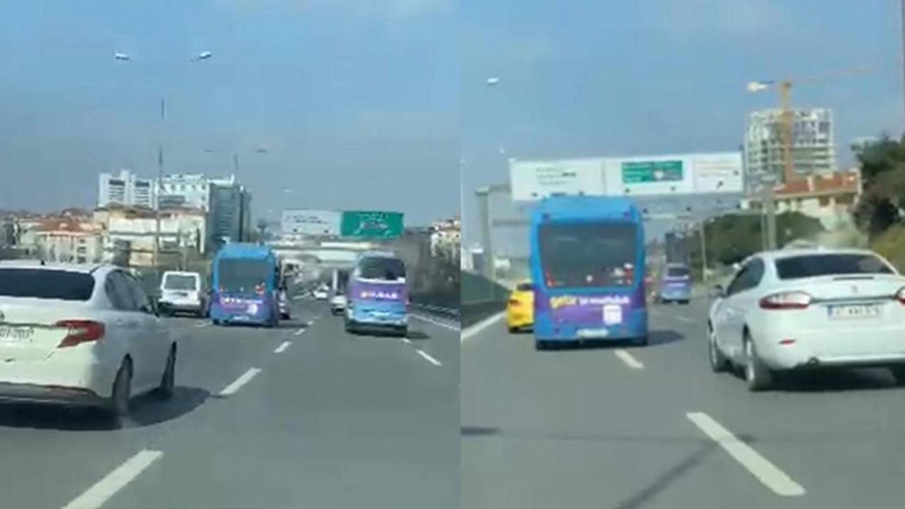İstanbul trafiğinde ''minibüslü'' maganda kamerada!