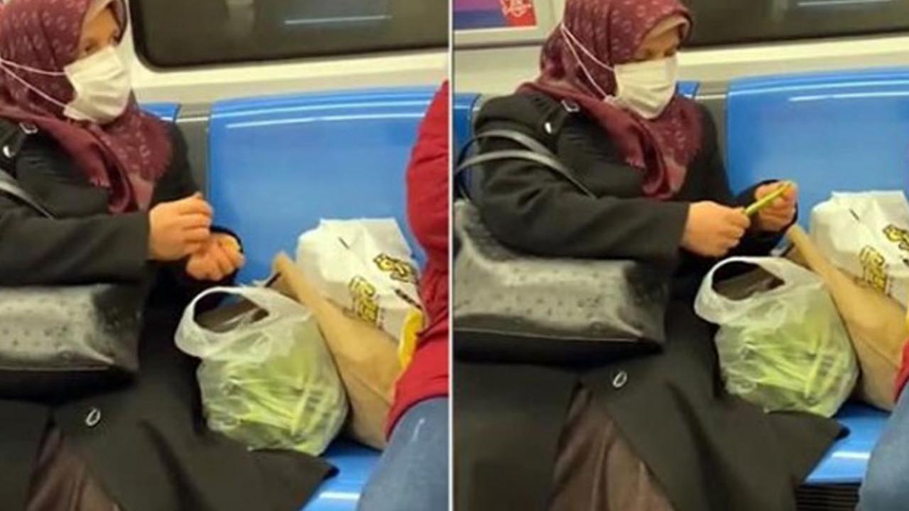 Metroda fasulye ayıklayan teyze sosyal medyada viral oldu