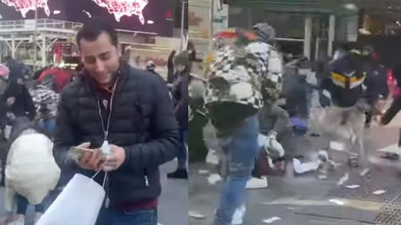 Şehrin göbeğinde deste deste para saçtı!