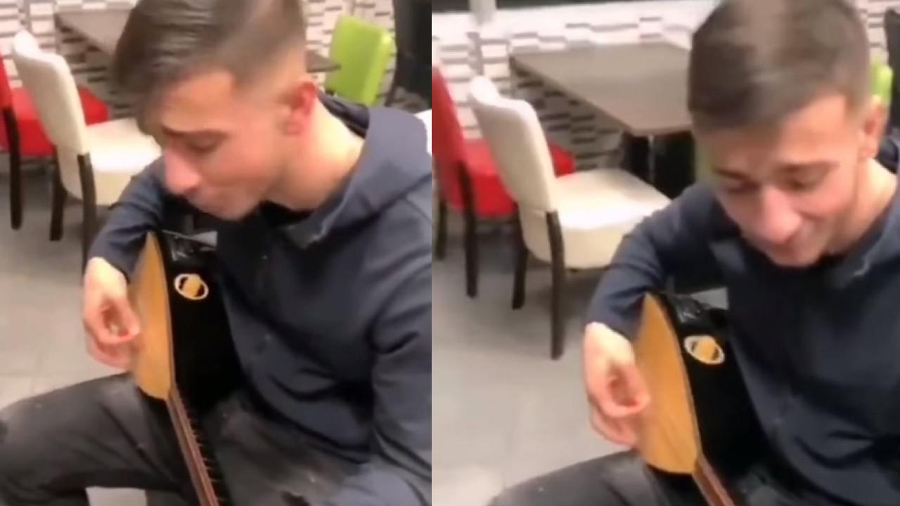 Galatasaraylı Halil Dervişoğlu'ndan bağlama şov