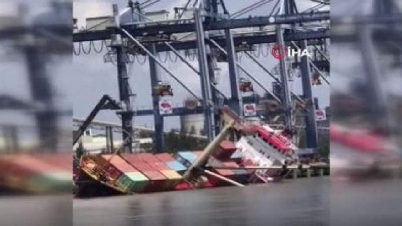 2 bin 500 tonluk yük gemisi böyle alabora oldu