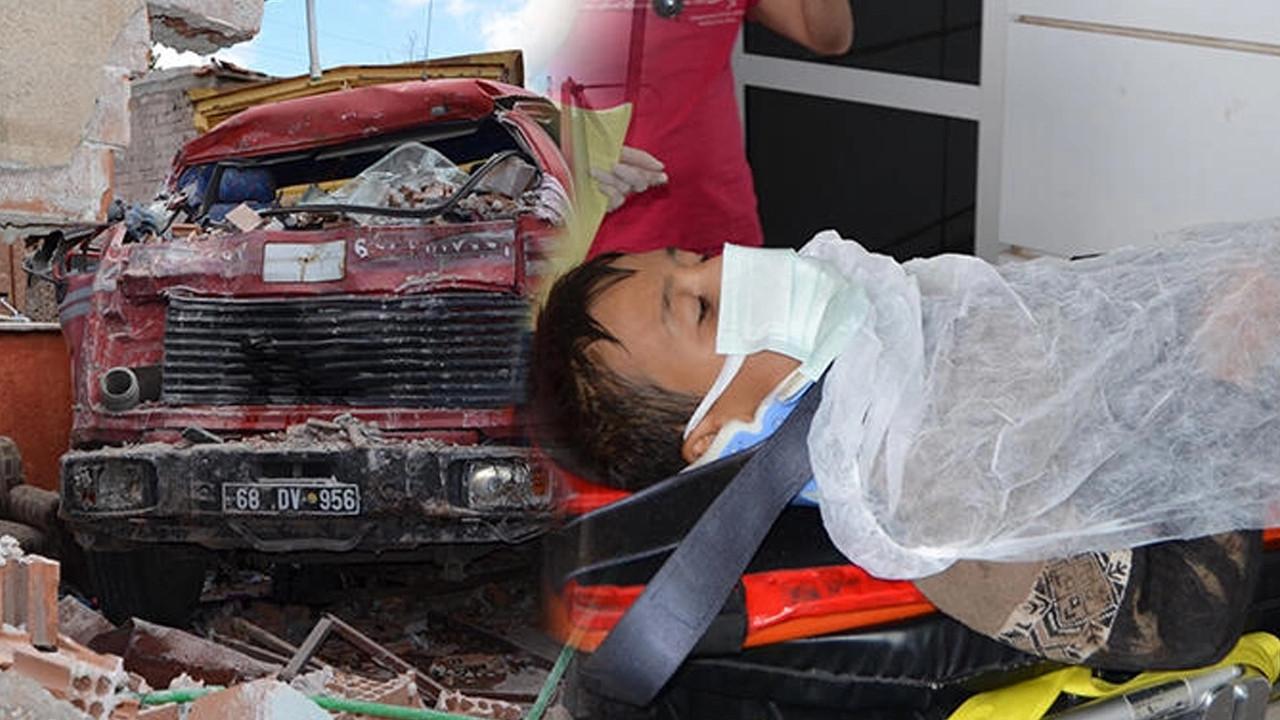Freni boşalan kamyon 12 yaşındaki çocuğa çarptı