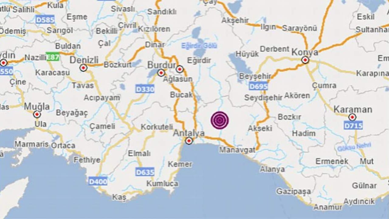 Manavgat'ta 3,5 büyüklüğünde deprem