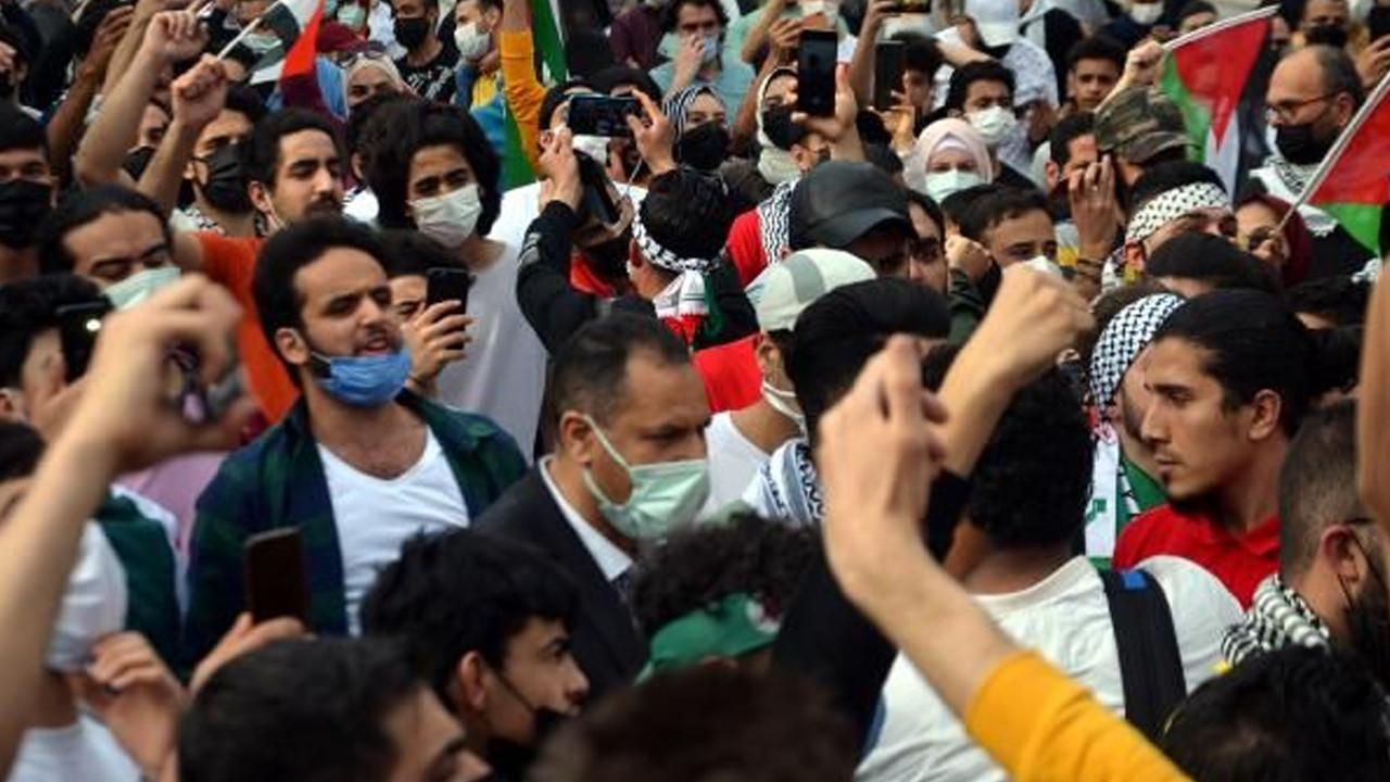 Burası İstanbul... Yüzlerce kişi İsrail'i protesto etti