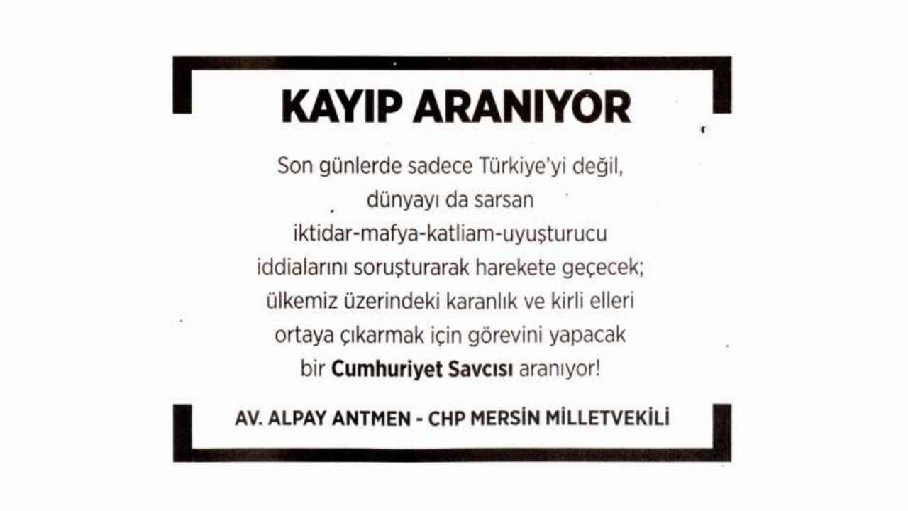 CHP'li milletvekilinden çok konuşulacak ''Kayıp Aranıyor'' ilanı