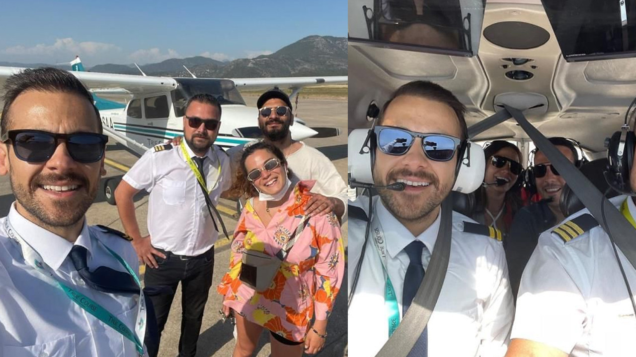 Pilot olan oyuncu Ümit Erdim, ünlüleri uçurdu