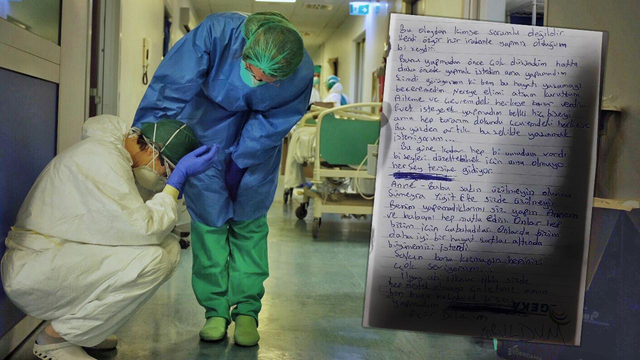 Bir sağlık çalışanı ''yoruldum'' yazılı mektup bırakıp intihar etti