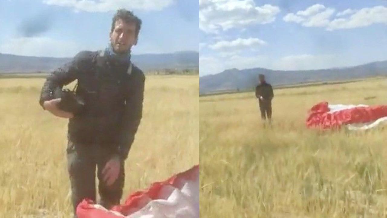 Ekili tarlaya inen Kanadalı paraşütçü ile çiftçinin diyaloğu güldürdü