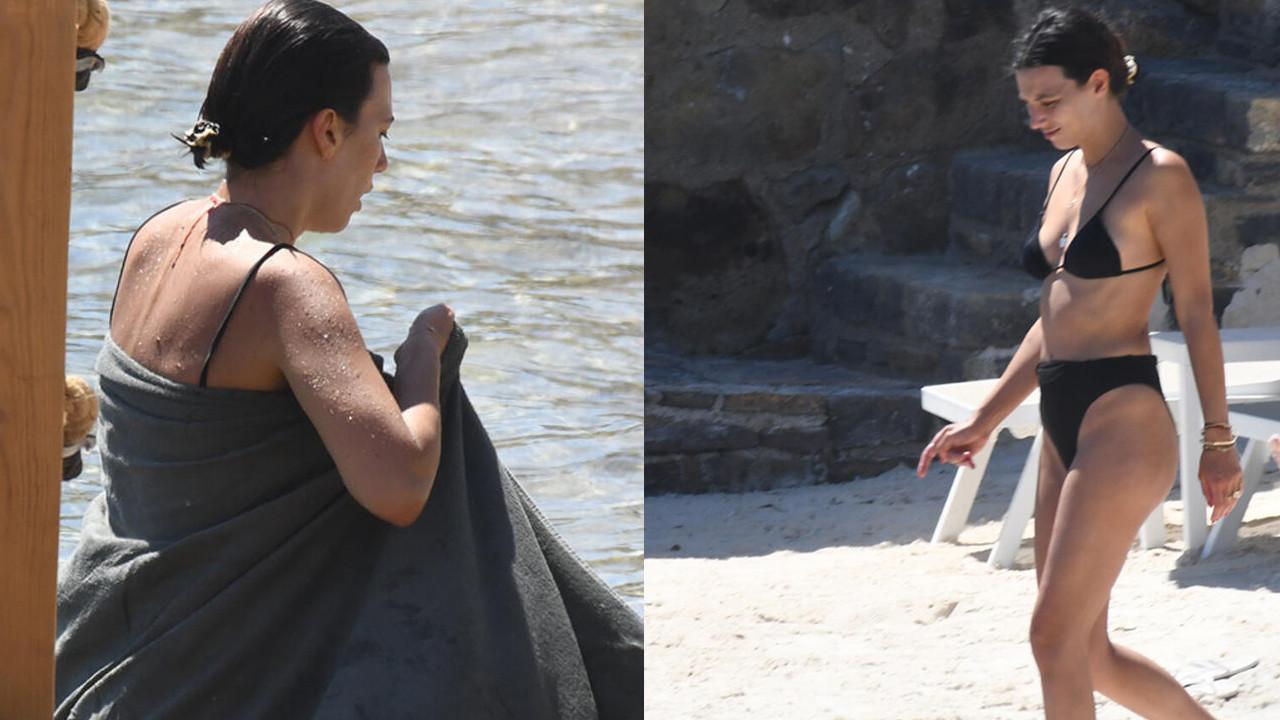 Bikinili görüntülenen ünlü isimden havlu önlemi