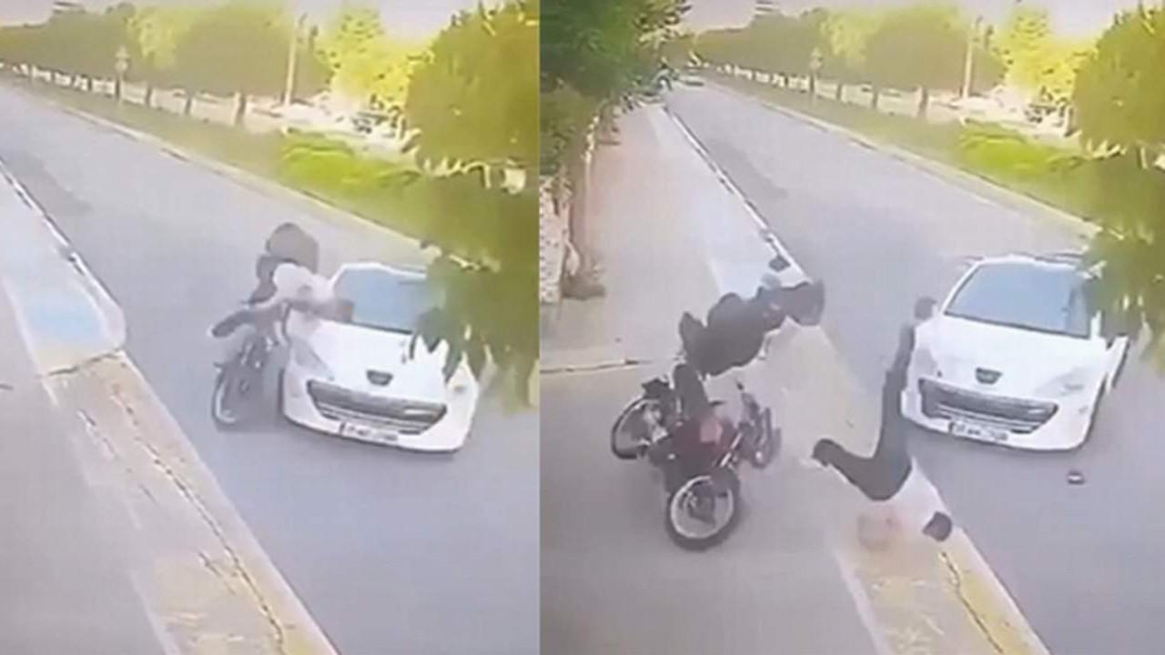 İstanbul'da korkunç kaza: Motosiklet sürücüsü metrelerce havaya uçtu