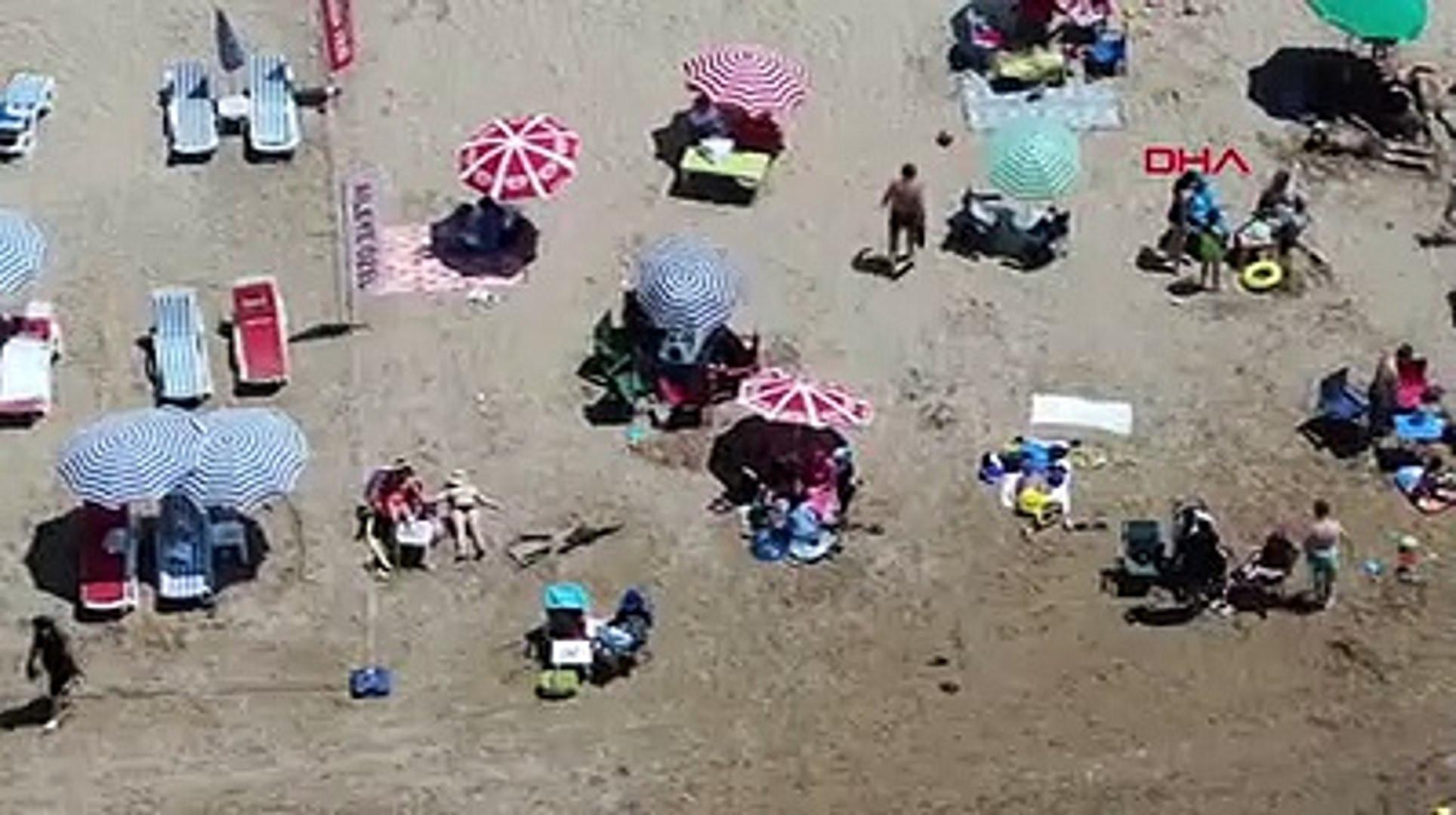 Şile plajlarındaki yoğunluk havadan görüntülendi