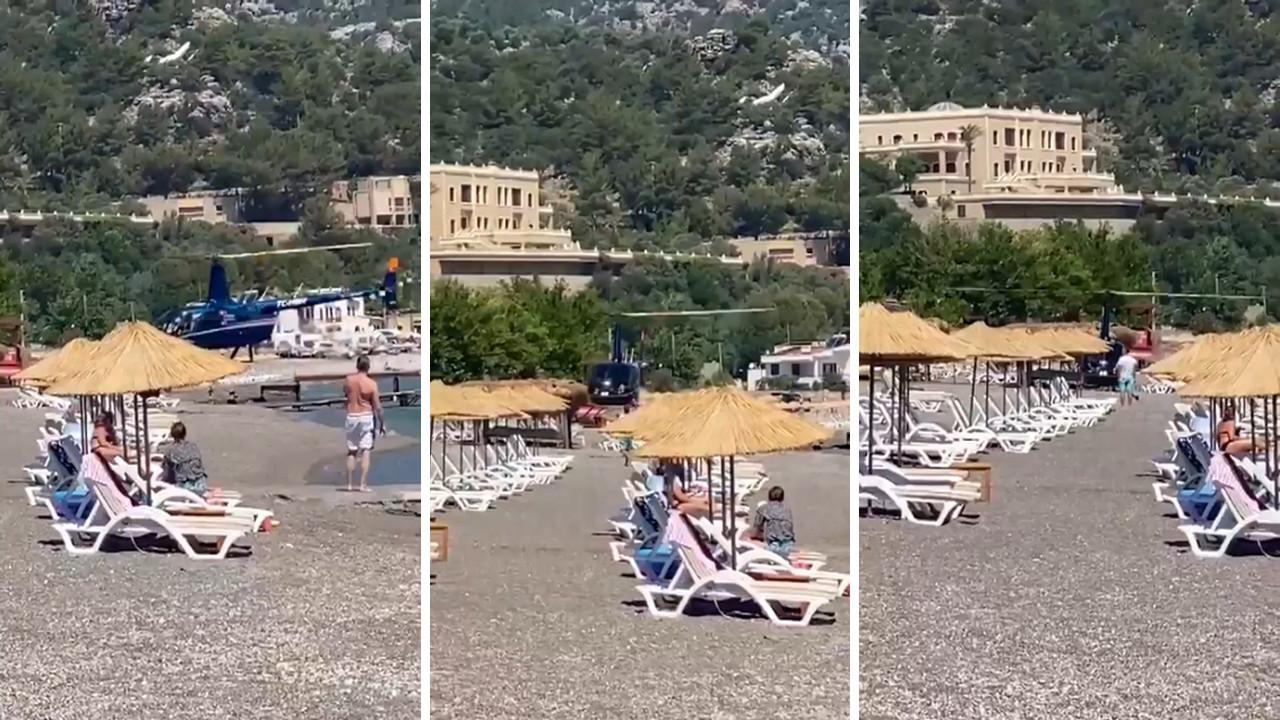 Görüntüler Muğla'dan! Plaja helikopterle ''müşteri'' transferine soruşturma olay oldu