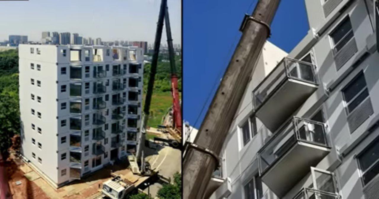 28 saatte 10 katlı bina diktiler - Resim: 1