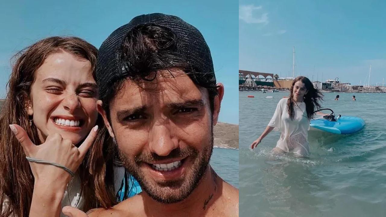 İlayda Alişan, sevgilisi Serkay Tütüncü'den sörf dersi aldı