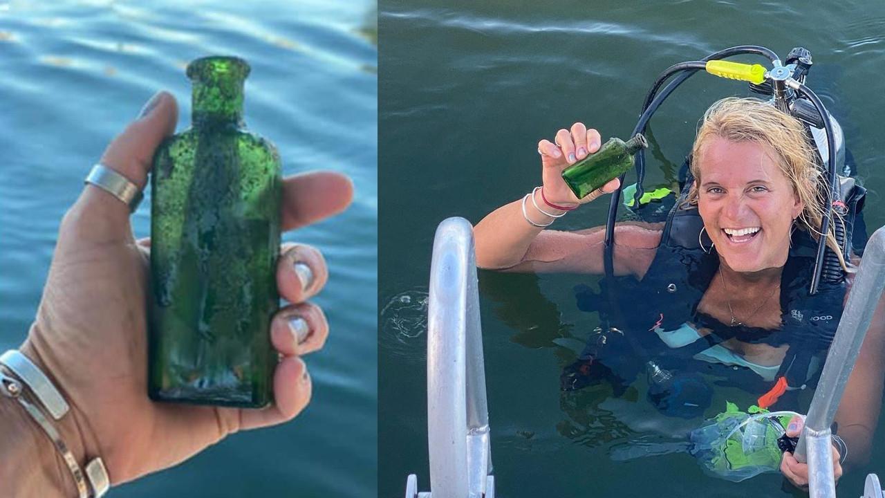 Denizin dibinde bulduğu şişeden 95 yıllık not çıktı