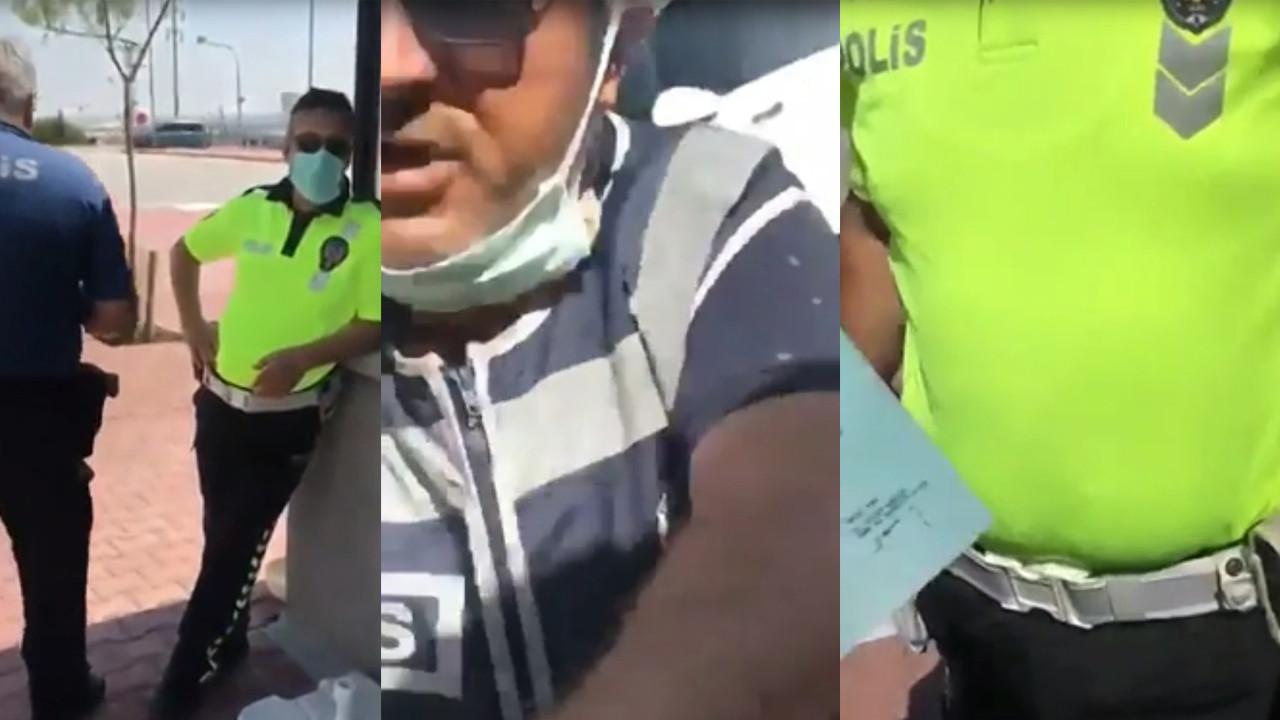 Polis ile gazetecinin maske kavgası kamerada