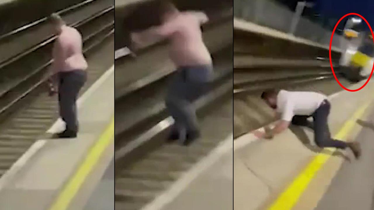 Metroda dehşet anları: Yarı çıplak şekilde raylara atladı