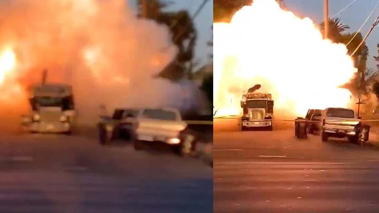 Dehşet anları: Bomba imha kamyonu havaya uçtu!