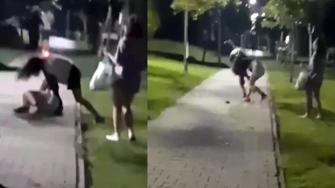 Genç kızlar tekme tokat kavga etti