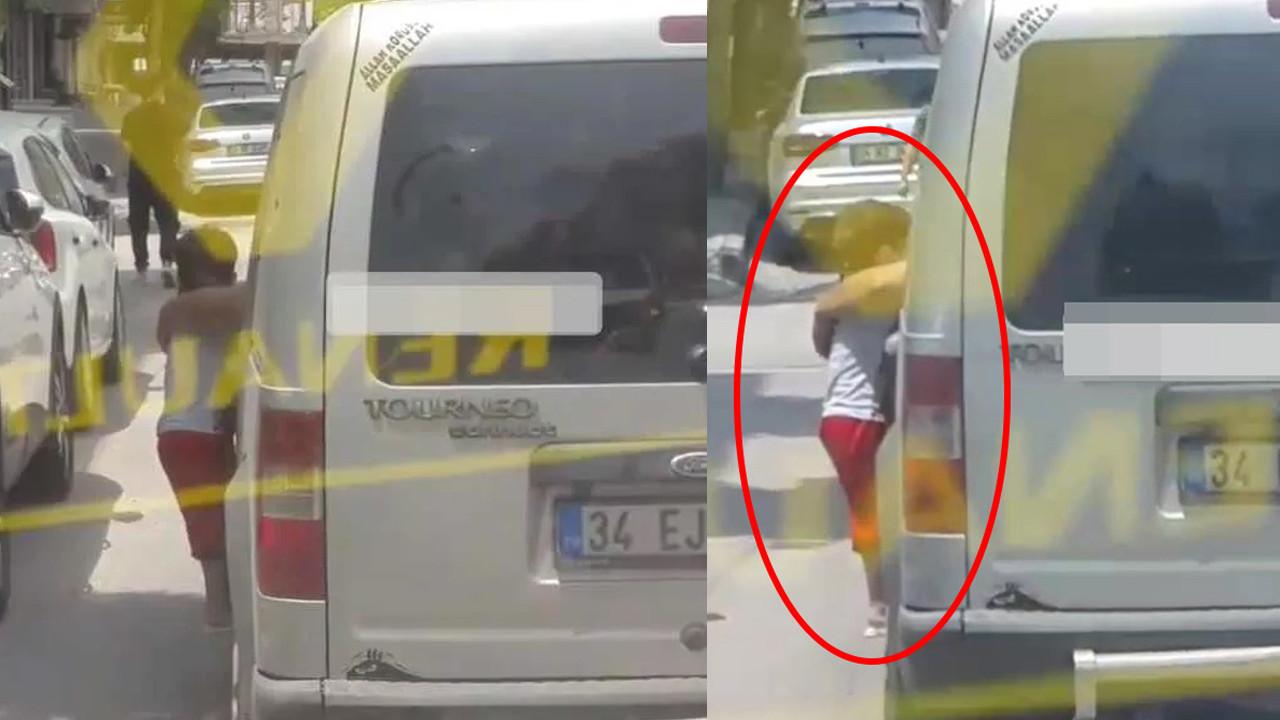 Küçük çocuğu araçtan sarkıtan babadan pes dedirten ifade