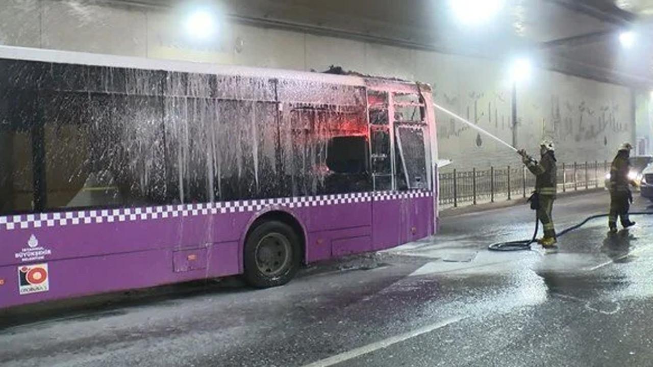 Taksim tünelinde otobüs yangını