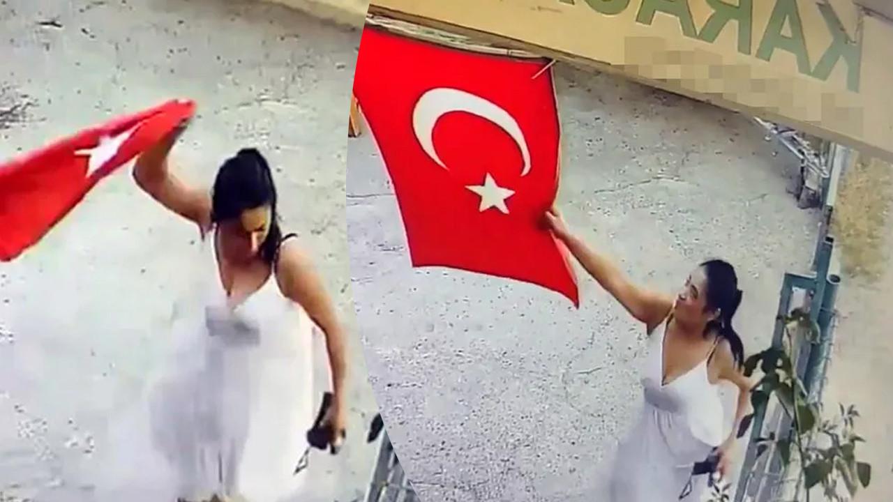 İş yerine asılı Türk bayrağını koparıp çöpe attı!