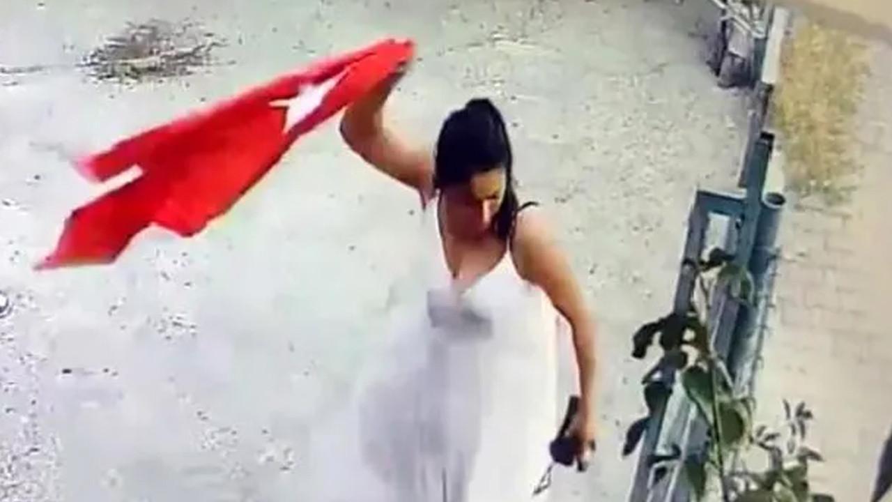 Türk bayrağını çöpe atan kadından skandal sözler