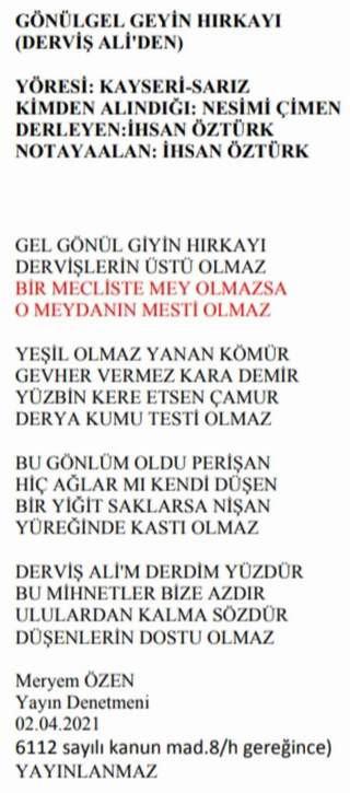 TRT'den halk şairi Derviş Ali'nin sözlerine sansür