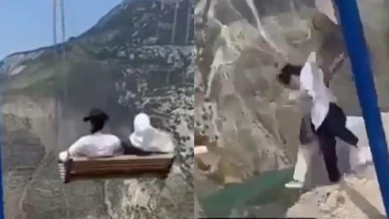 Uçurumun kenarındaki salıncaktan böyle düştüler