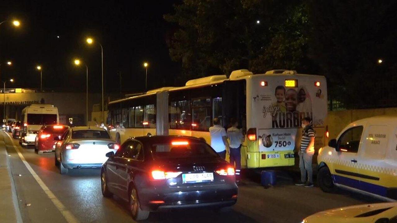 Yakıtı biten İETT otobüsü trafiği kilitledi