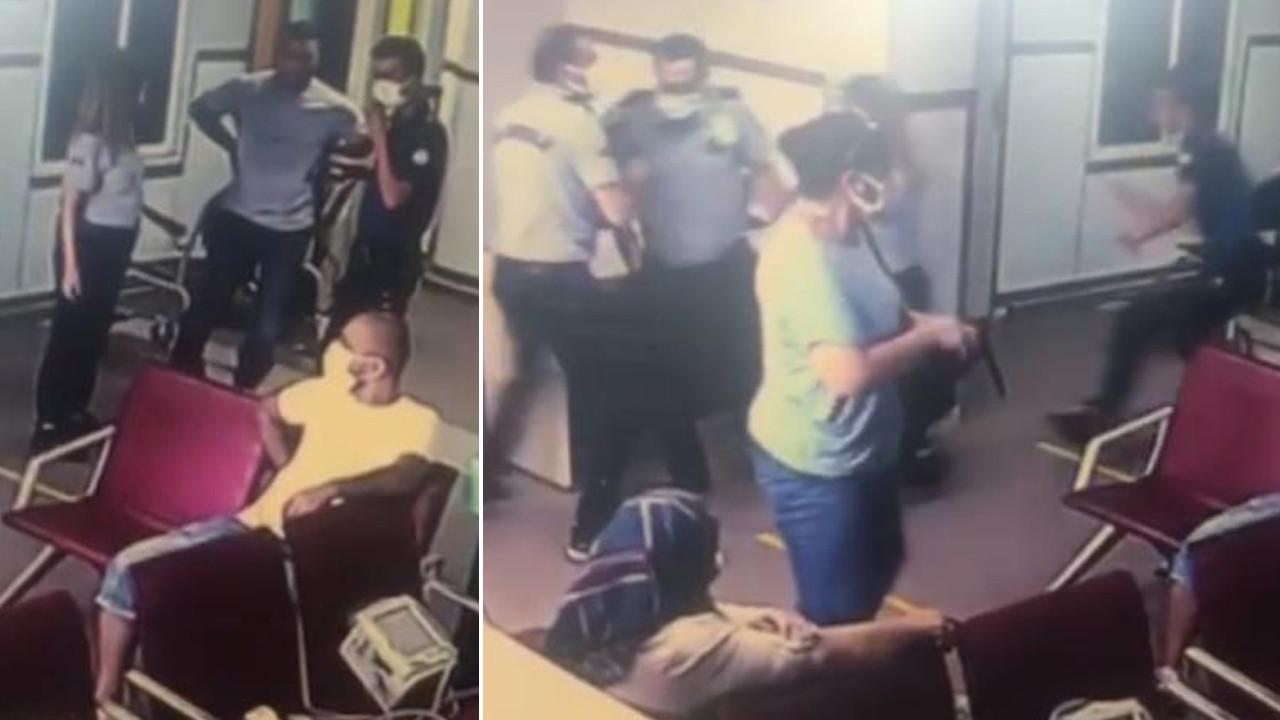 Hastanede korku dolu anlar! Yardım istediği polisin silahını kaptı