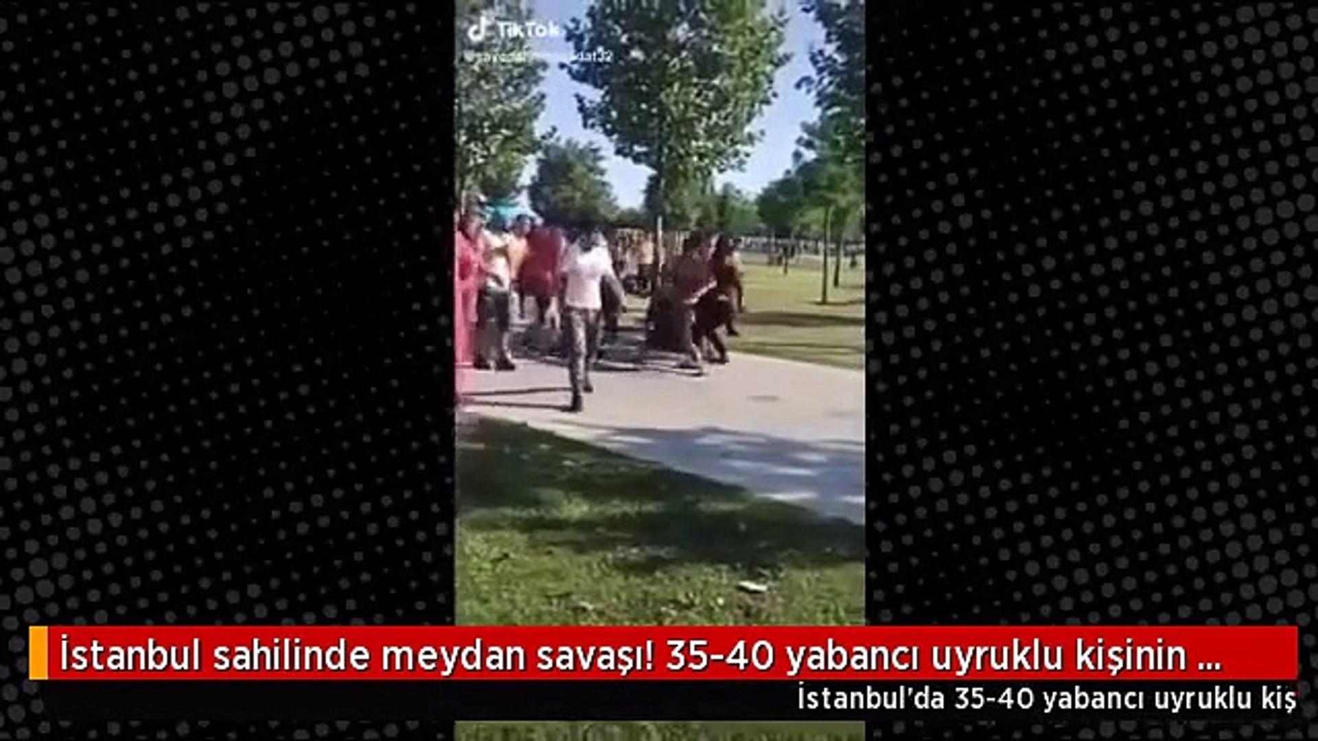 İstanbul sahilinde meydan kavgası: Hiçbir şey onları durduramadı