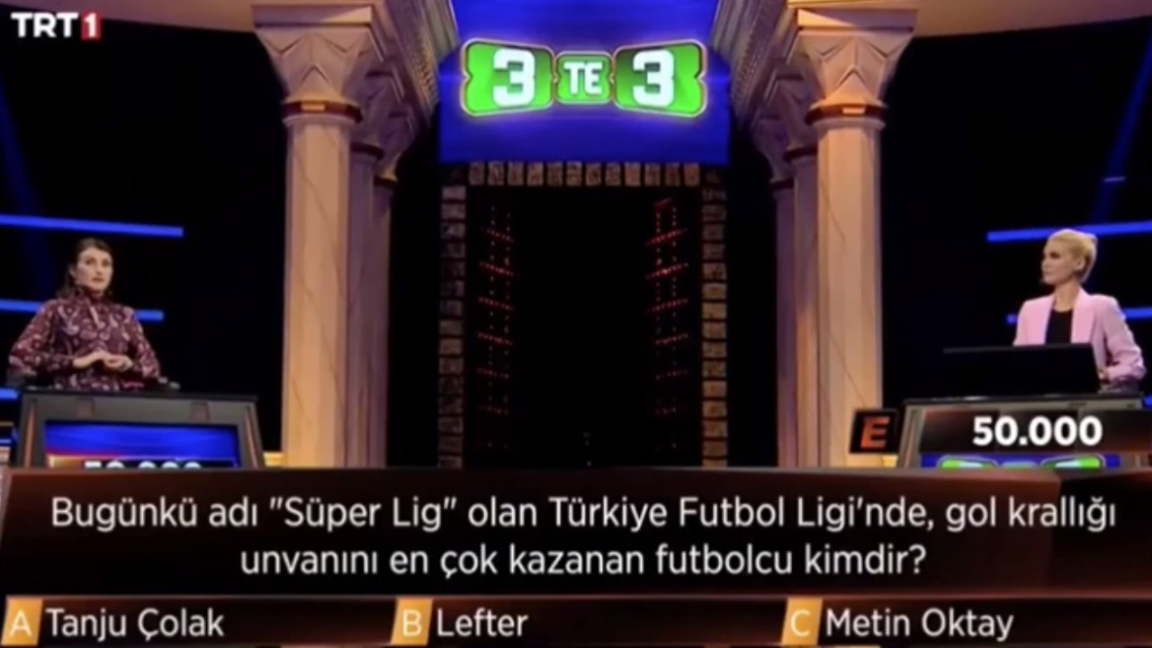 TRT 1'deki 3'te 3 yarışmasında skandal hata