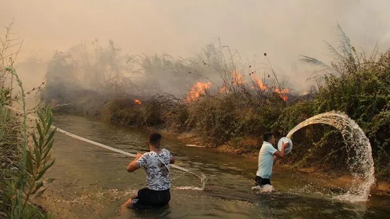 Antalya'da vatandaşlar sera ve evlerinin yanmaması için mücadele ediyor