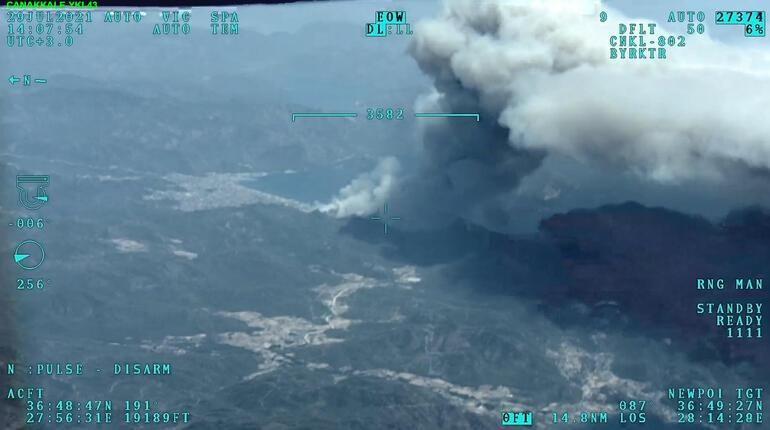 Marmaris'te korkutan orman yangını: Bazı oteller ve villalar tahliye edildi - Resim: 1