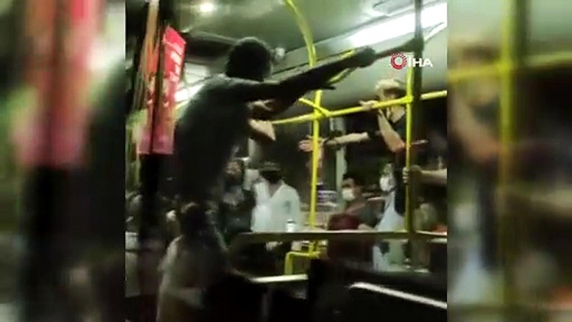 Otobüste tekme tokat maske kavgası