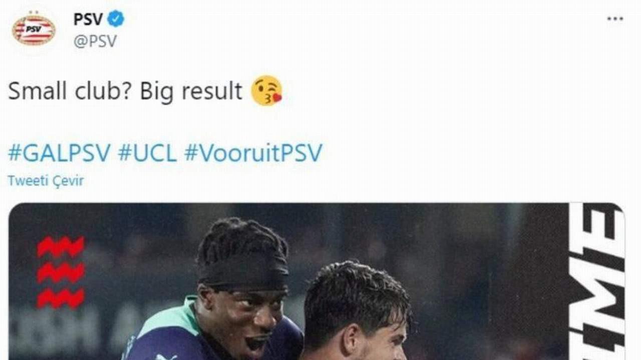 PSV'den Galatasaray maçı sonrası olay paylaşım