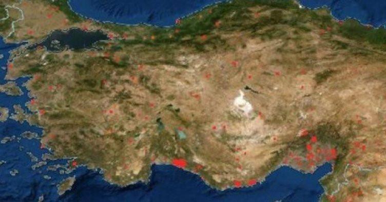 Türkiye'deki orman yangınları uzaydan görüntülendi