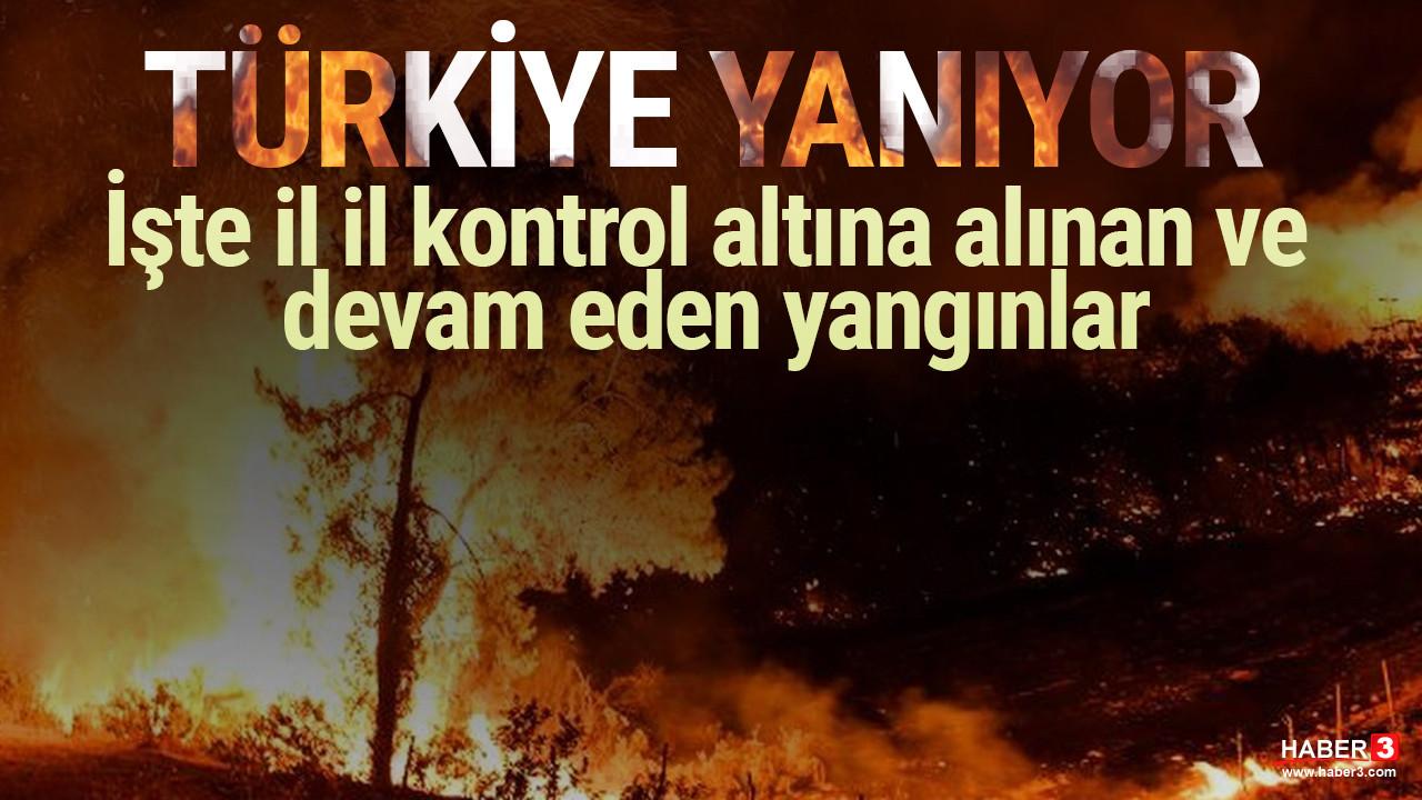 Türkiye yanıyor: İşte il il kontrol altına alınan ve devam eden yangınlar